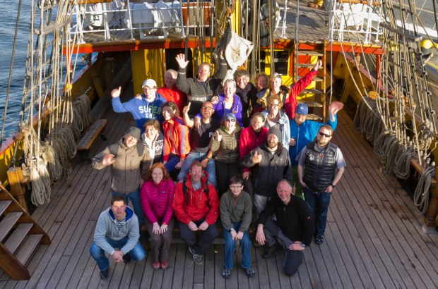 the group aboard the Bark Europa to Antarctica