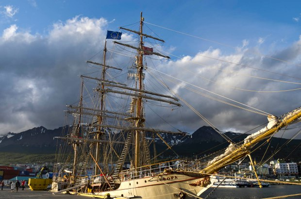 Bark Europa at the harbor in Ushuaia