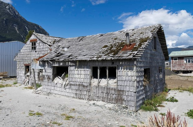 one of many homes in Chaiten destroyed by the volcano