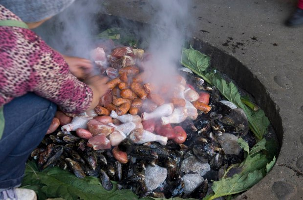 curanto made with shellfish, meat, potatoes, chicken & special breads made form potato is prepare in the ground (al hoyo)