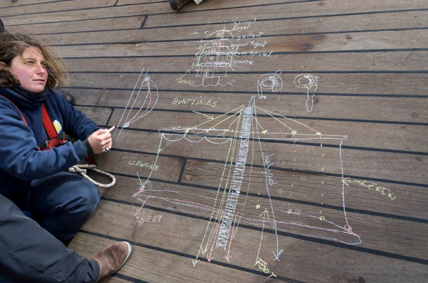 learning the functions of the many ropes and sails