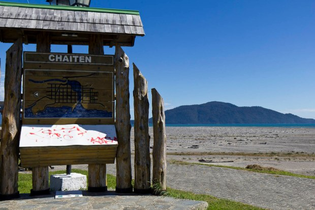 post volcanic eruption in Chaiten; the sea used to come right to the sign-now it's just all ash