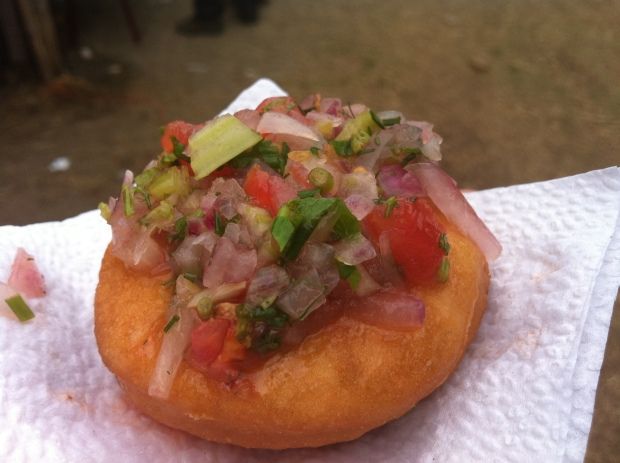 sopapilla con pebre (tomato, onion, cilantro, merken salsa-like condiment)