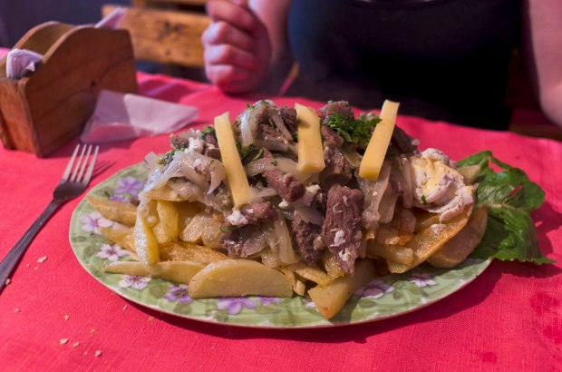 our chorrillana with steak; not exactly health food!