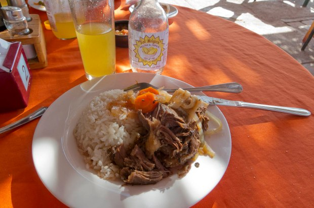 Goat cooked by the sun washed down with the local papaya juice