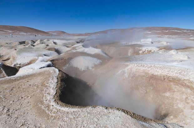steaming geysers located up almost 14,000 ft!