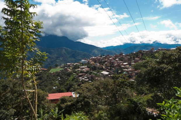 The small town of Coroico nestled in the cloud forest