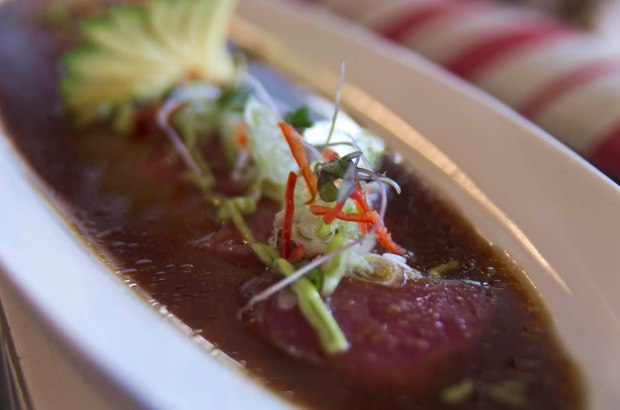 tiradito-thinner than sashimi but thicker than carpaccio