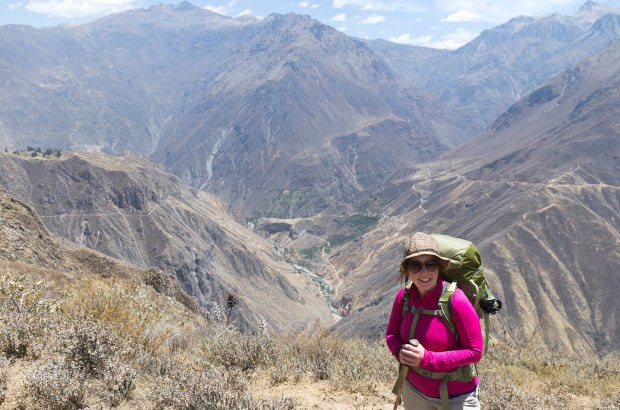 getting ready to hike Colca Canyon