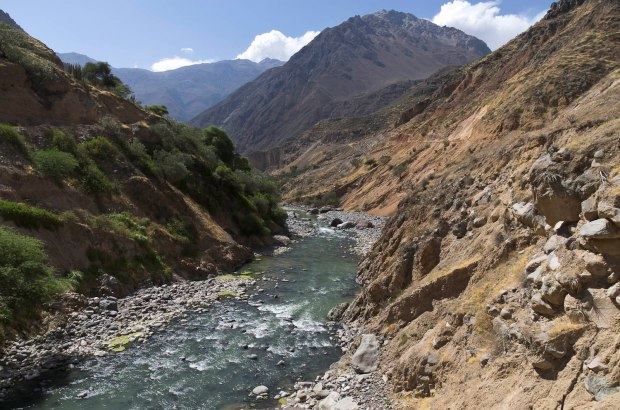 the river Colca at the bottom of the canyon