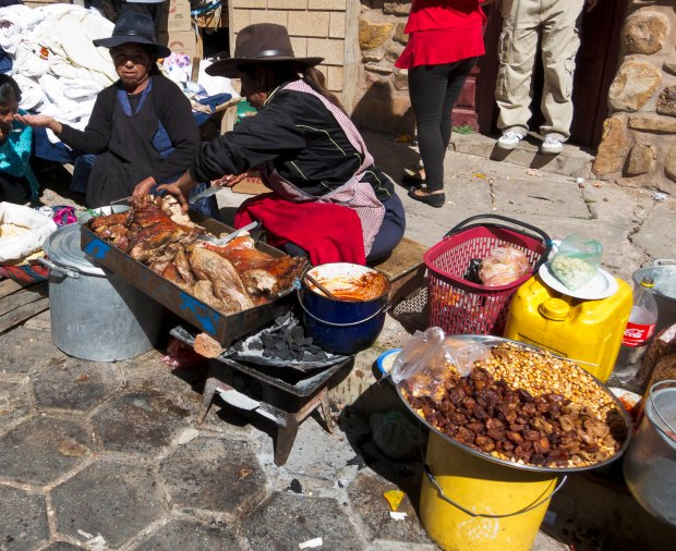eating on the street in Bolivia may mean paying the piper later